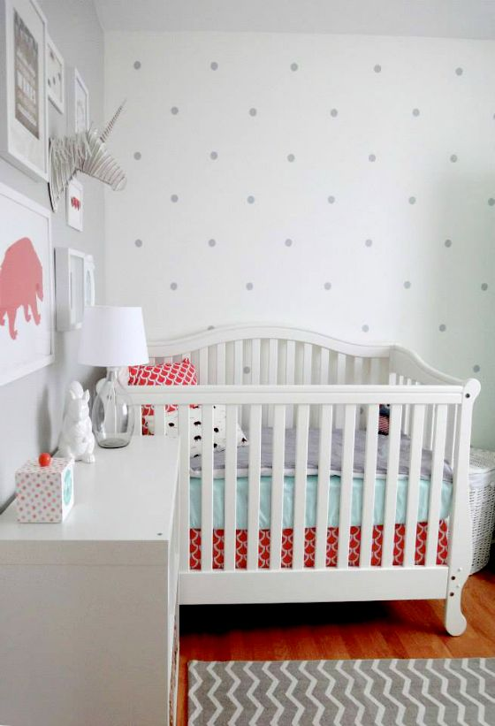 Eclectic C And Aqua Nursery Love The Polka Dot Wall