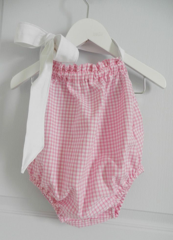 Maillot de bain bébé en vichy rose et ruban blanc - 12 mois - Duchesse Or Ange
