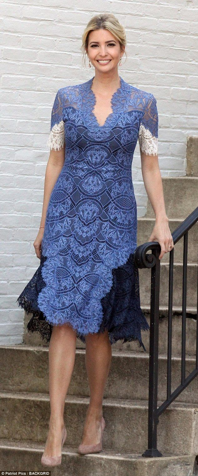 Style queen: Ivanka Trump looked incredibly elegant as she made her way down the front steps of her Washington, D.C. home on Tuesday morning