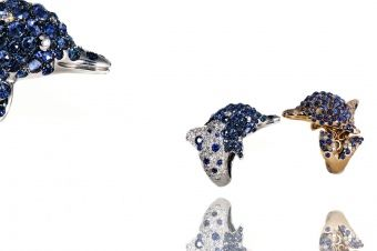 Gismondi Jewellery 1754  Dolphin rings available in white and rose gold 18Kt with pave' of sapphires and natural white diamonds and ice diamonds