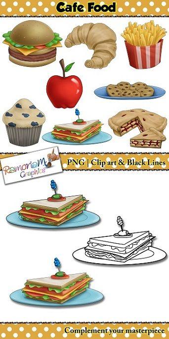 50% off till OCT 26th!! Cafe food clip art, hamburger, fries, croissant, pie, cookies, sandwhich, pie, apple clip art