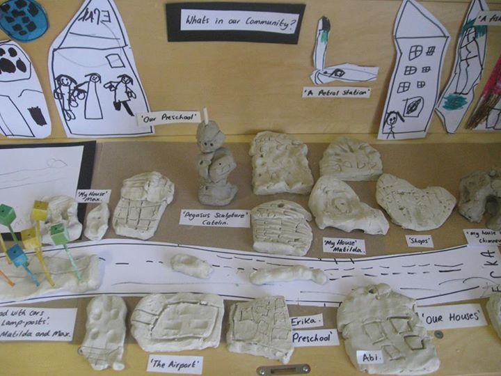 """'What's in Our Community?' - 'The children created their own community using different media and materials... from Nature's Play Preschool -Pegasus ("""",)"""