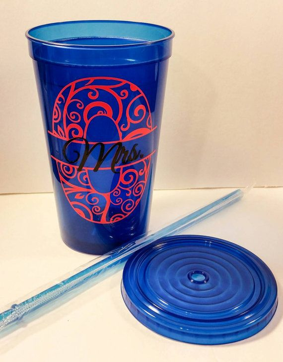Personalized Tumbler, Monogram cup with straw, custom tumbler lid straw, plastic cup, monogrammed tumbler lid straw, beach cup, travel mug