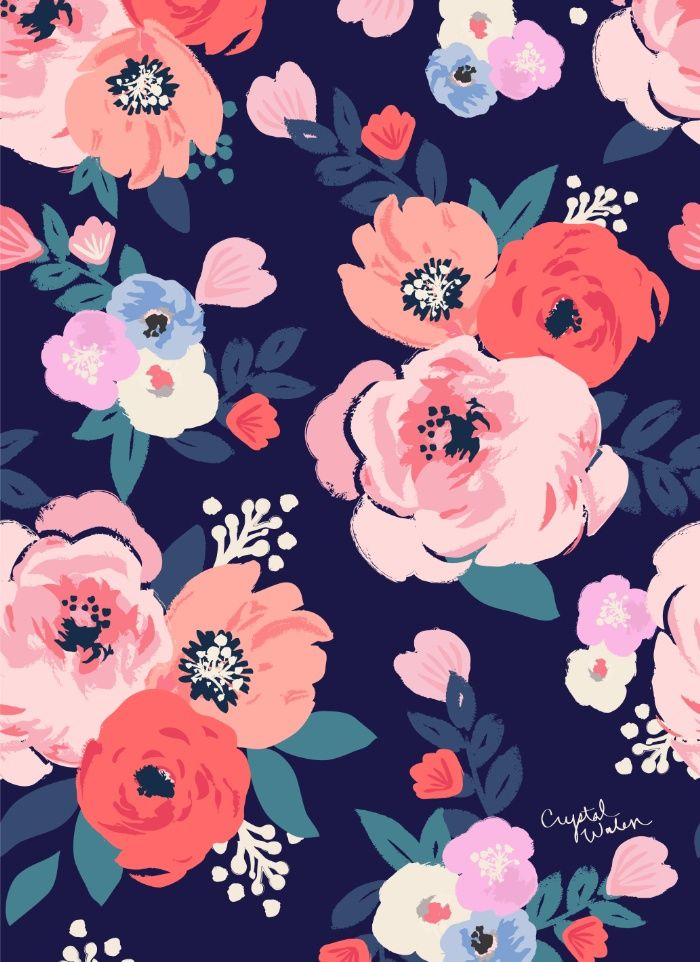 soft peach, blushes and coral flowers on navy