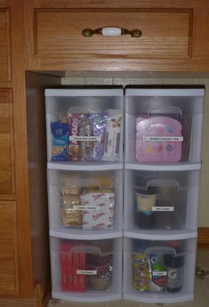 Lunchbox Cupboard: the kids pack their lunches—they pick one from each drawer (fruit, granola bars, snacks, desserts, drinks, etc.). The parent chooses what goes in the drawer, but the child learns to make their own choice of what to eat.