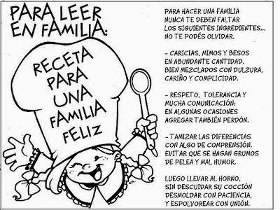 MAESTRA ERIKA VALECILLO: Receta para una familia feliz.
