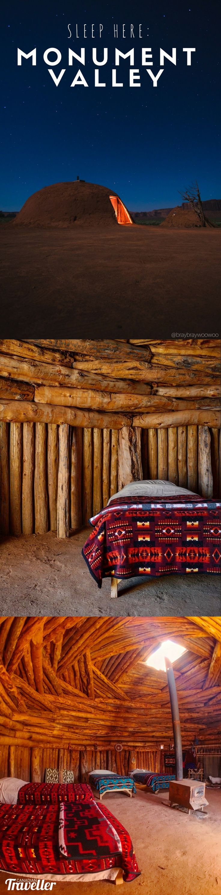 Monument Valley: The most memorable night you don't spend in a hotel via Canadian Traveller Magazine by Jennifer Hubbert. My night spent in an authentic Navajo hogan - the only place you want to sleep in Monument Valley, Utah.
