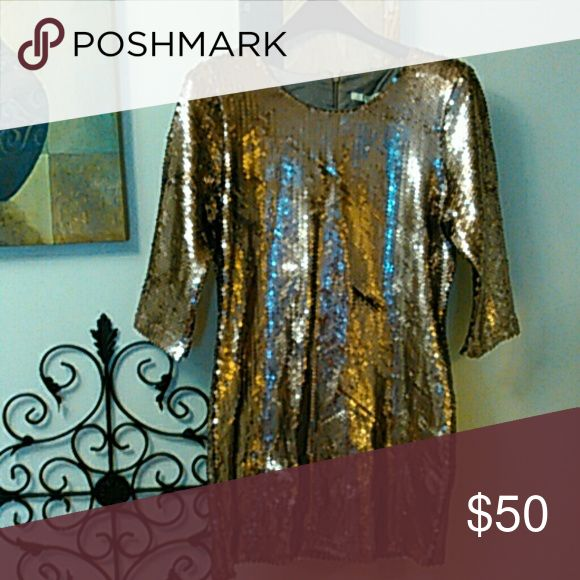 Sparkling Toast Dress Sequins bodycon mini dress. Michael Kors  dark camel sequins dress look alike that retails for $155 BB Dakota from Modcloth Dresses Mini
