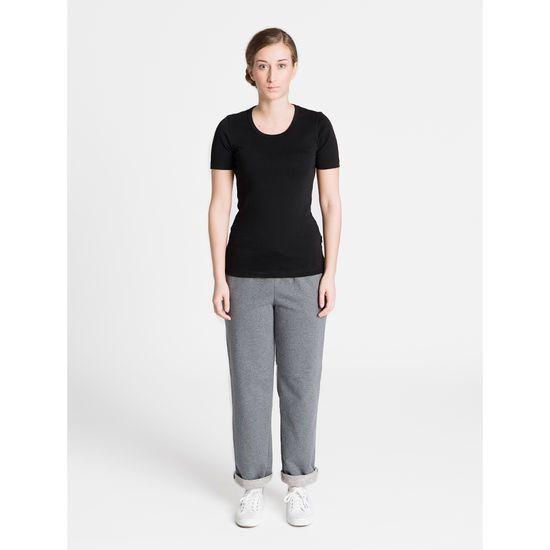 Naisten joustava T-paita musta | R-Collection