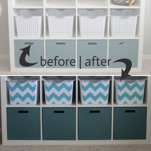 get organized with easy DIY fabric covered storage bins | It's Always Autumn
