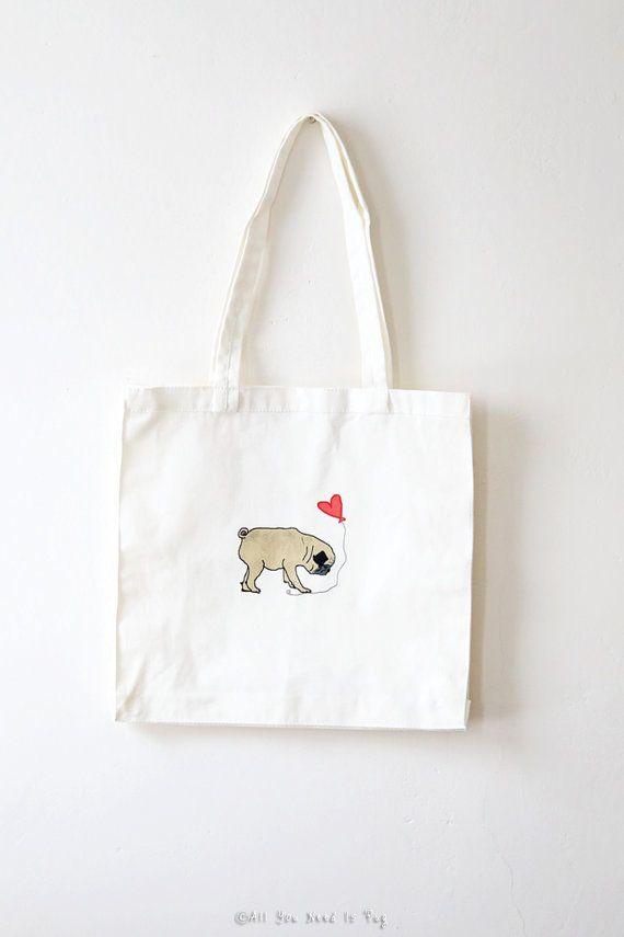 Pug In Love Tote Bag Pug Tote Bag Gift by AllYouNeedIsPugShop
