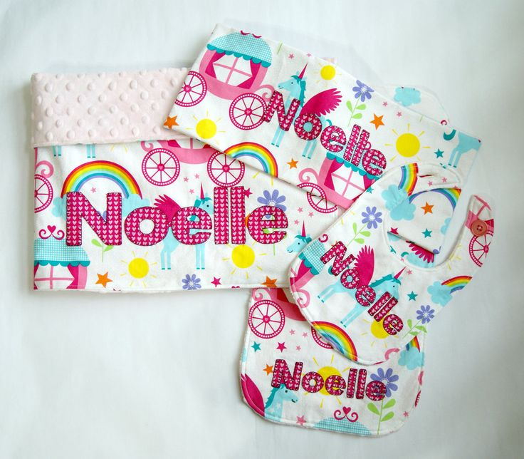 26 best handmade baby blankets images on pinterest handmade baby personalized baby girl minky blanket gift set rainbows and unicorns baby girl blanket negle Images