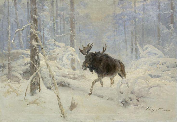 """Malarstwo polskie Czesław Wasilewski """"Łoś w zimowym lesie"""", olej na płótnie, 72 x 100 cm, własność prywatna"""