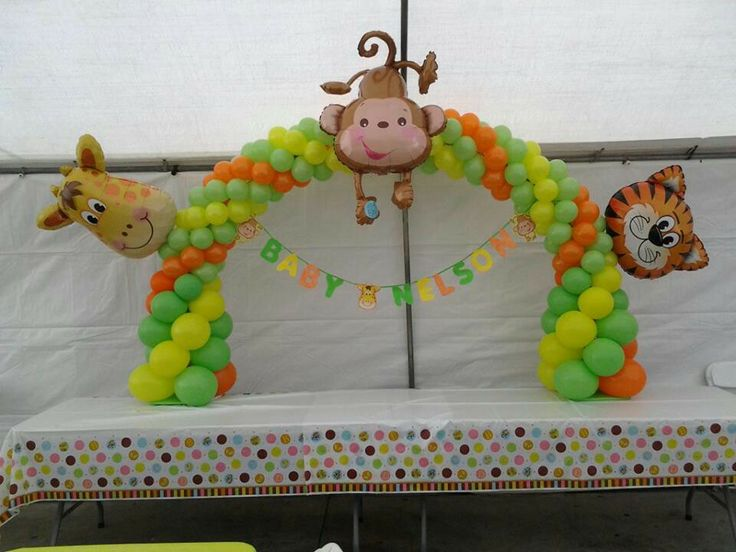 Safari baby shower decoration animals balloon archs for Animal decoration