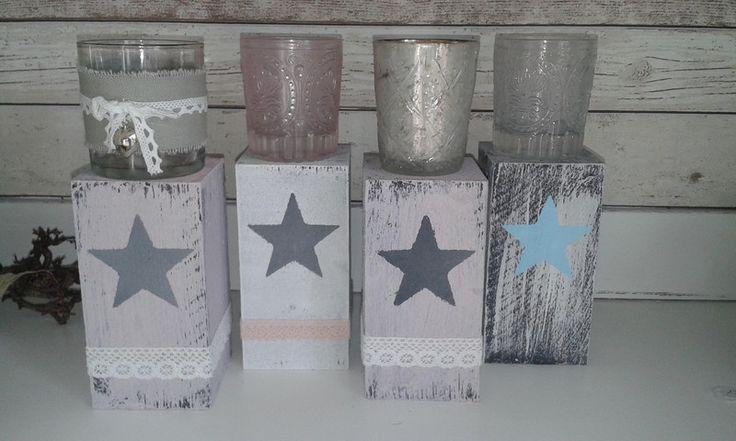 shabby Teelichthalter Stern Stehle Kerzenständer von KitschKlitsche auf DaWanda.com