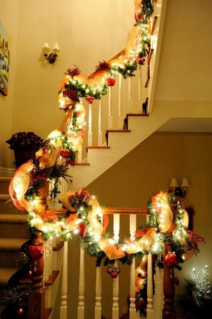 A staircase garland for Christmas.   Photo by Gary Chan and Eric Tsui from EpicFocus Photography.