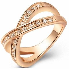 *Local Stock* New 18K RGP rose gold Crossover ladies ring with AAA Genuine Austrian Crystals