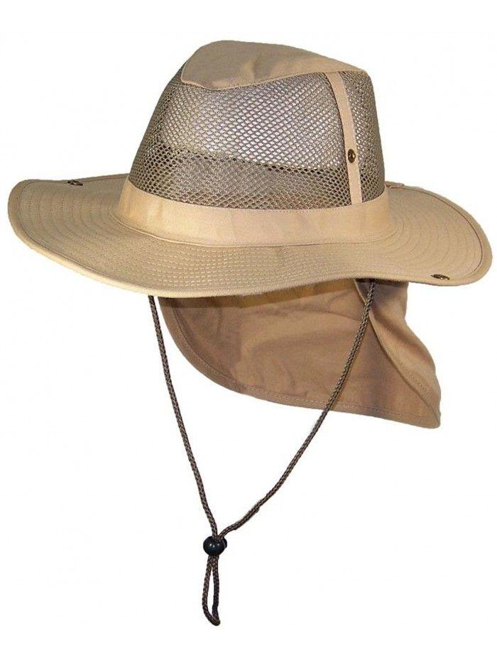 Summer Wide Brim Mesh Safari Outback W Neck Flap Snap Up Sides Khaki Cu1827kwzq2 Mens Hats For Sale Hats For Men Mens Sun Hats