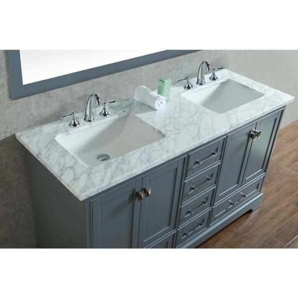 Stufurhome Newport 60 In W X 22 In D Vanity In Gray With Marble Vanity Top In Carrara White And Mirror Hd 7130g 60 Cr The Home Depot In 2020 Bathroom Vanity Marble Vanity