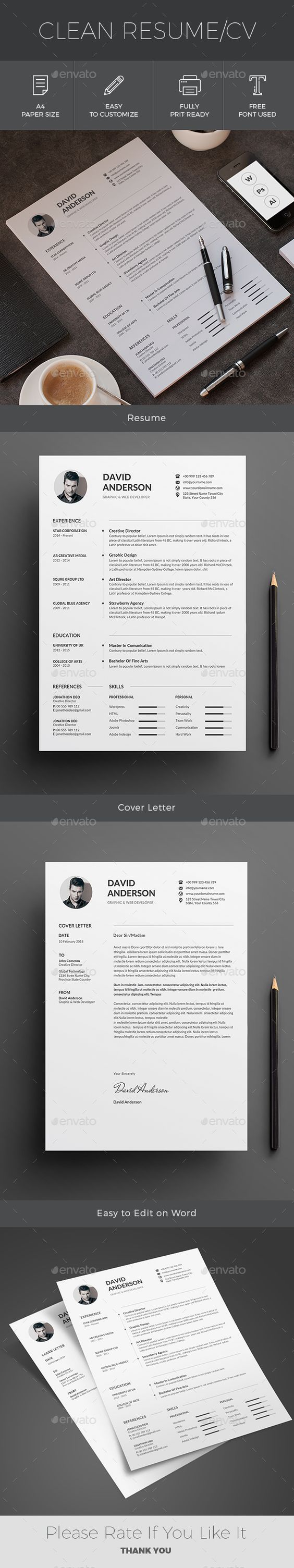 Resume Resumes Stationery CV Template