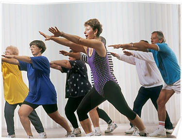 Option 2:  Mature aged people exercising with personal trainer by Brian McInerney.