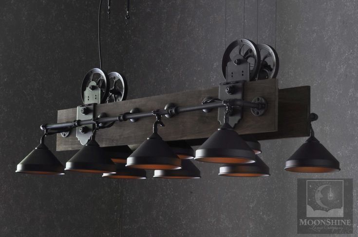 This unique industrial style chandelier is made for use over pool tables but will work anywhere you see fit. Perfect for your man cave or game room.