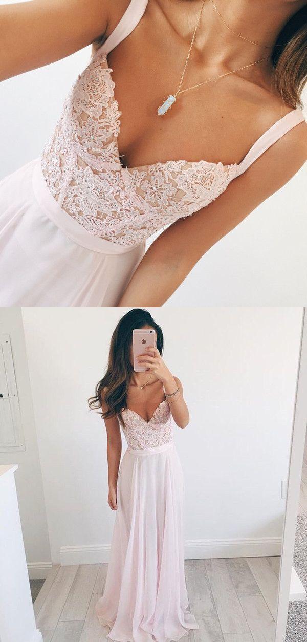 Elegant A-line V-neck Long Chiffon Baby Pink Long Prom Dress Evening Dress