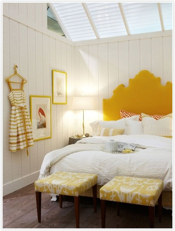 Bright yellow accents on white
