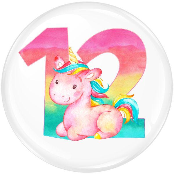 Unicorn 12 Age Birthday Party Badge #459