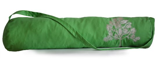 Green Yoga Mat Bag with Wisdom Tree Embroidery on Cotton Twill