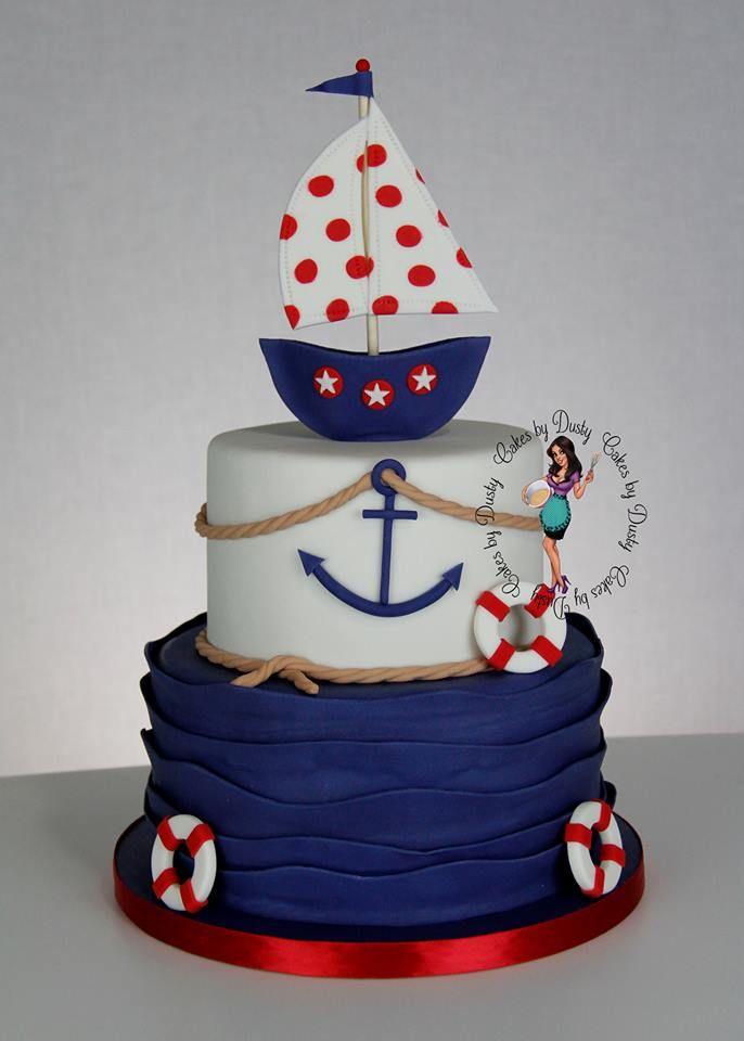 CON DEGRADACION DE COLORES   - nautical baby shower cake