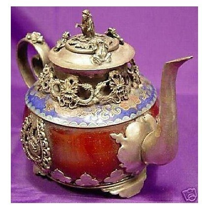 Tibet jade red carved teapot, Chinese collectibles