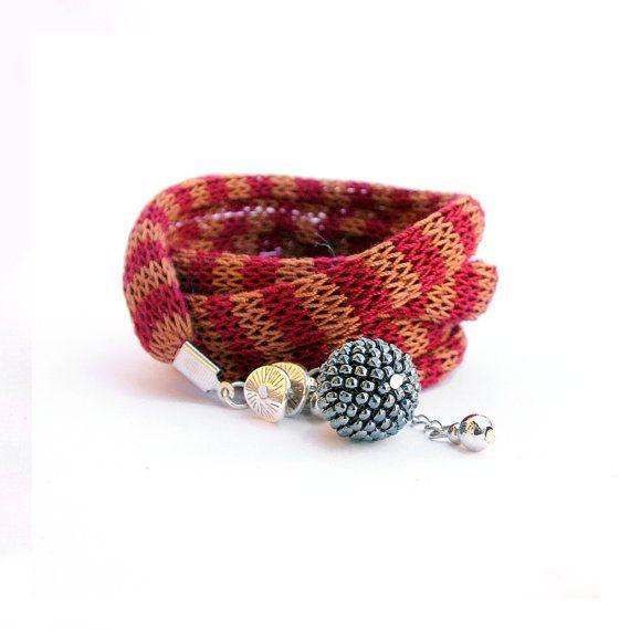 Wrist wrap bracelet - striped fabric bracelet in wine red and copper brown / fabric jewelry / boho wrap bracelet /  knit bracelet  / cuff