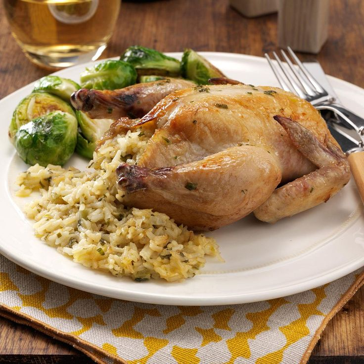 Stuffed Cornish Hens Recipe -With a golden and flavorful stuffing, these tender hens are a special-occasion entree for just the two of us.—Wanda Jean Sain, Hickory, North Carolina