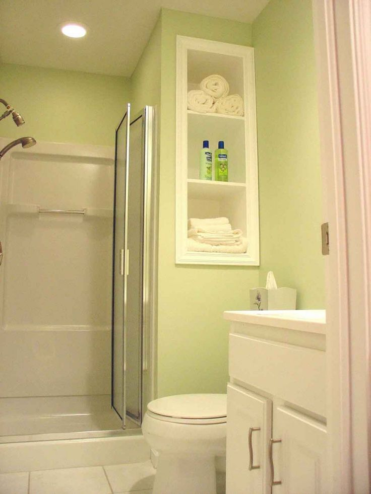 small bathroom cabinet ideas | ... Green Small Bathroom Designs With Enclosed Tub White Bathroom Cabinet