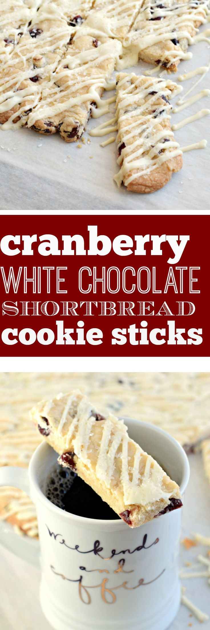 Get festive with these Cranberry White Chocolate Shortbread Cookie Sticks. Melt in your mouth delicious! You may need to double the recipe, these go fast!