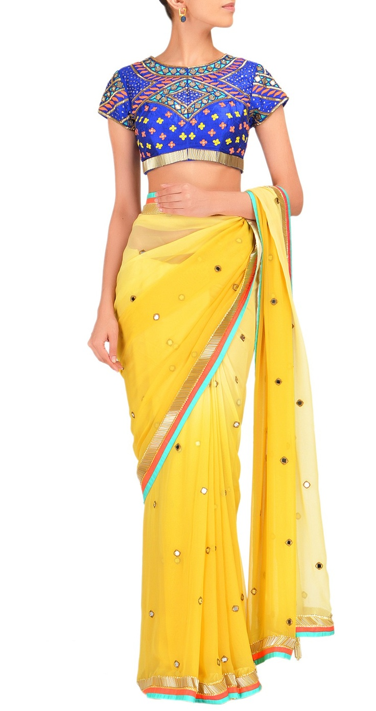 Yellow Arpita Mehta Mirrorwork #Saree With Blue Embroidered #Blouse.