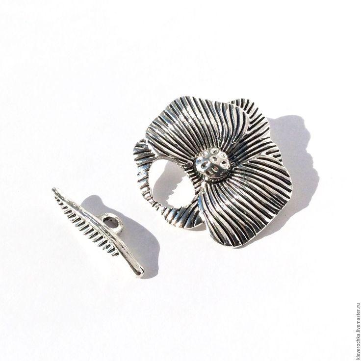 Купить Замок 28 мм цвет серебро тогл застежка металлическая для украшений - фурнитура для украшений