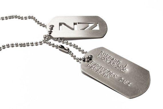Mass Effect custom tags N7 elite military - nickel silver & stainless steel
