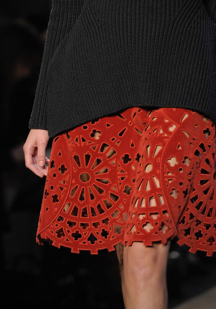 cut out lace dresses, skirts, maxi coats  Carven Fall 2012 RTW | vogue.com