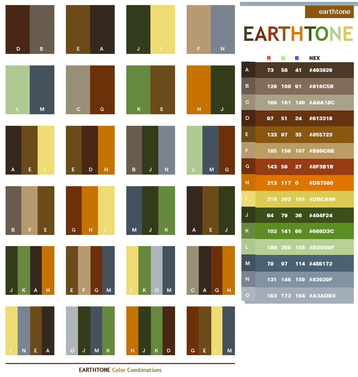 Description: Earthtone colors come from natural things around us: brown soil, green leaf, cloudy sky, as well as the red sun. These palettes can create a warm, nature-friendly atmosphere. Meanings: Warm, safe, protective, sturdy, durable, rough Implications: Earthy, environmental, welcoming, bold Associations: Soil, forest, wood, countryside