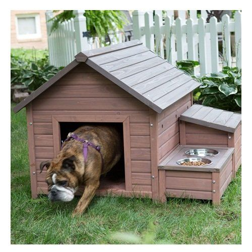 Svitlife Solid Wood A Frame Outdoor Dog House With Food Bowl And