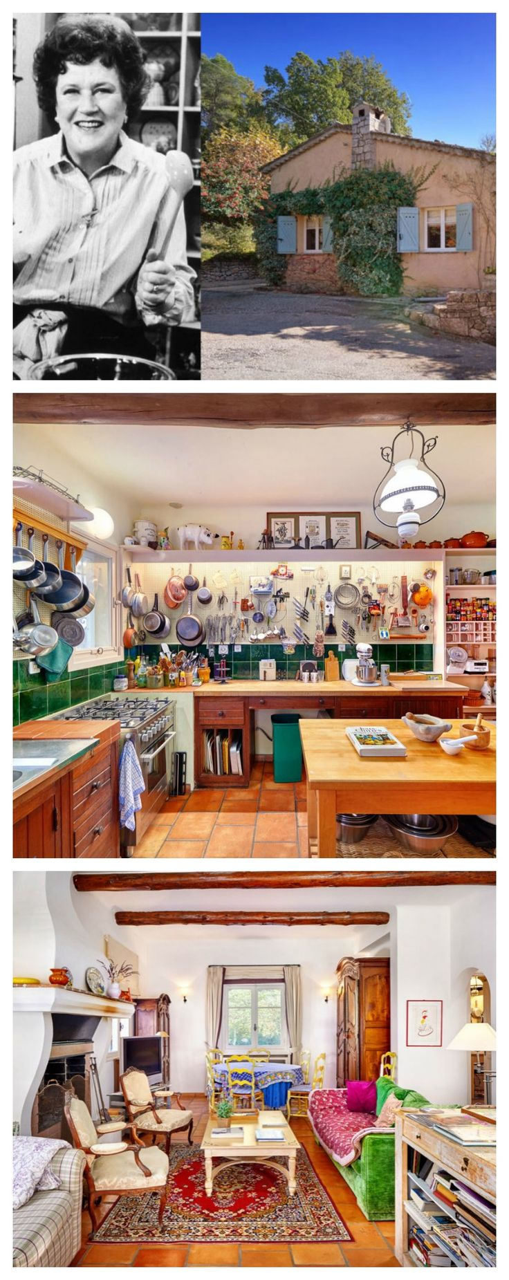 """The French country home of author and famous chef, Julia Child, is on the market for the first time in its 50 year history. Dubbed """"La Pitchoune"""" – which translates to """"The Little Thing""""- the 1,500-square-foot country estate in Provence, France, features delightfully rustic interiors, spectacular views, and of course, a large and organized kitchen."""