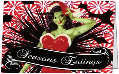 Peppermint Zombie Christmas Card by LttleShopOfHorrors on Etsy, $4.00