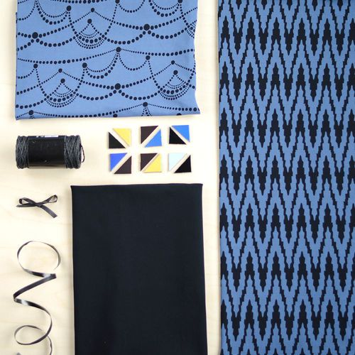 JUHLA jersey, Blue - Black| New NOSH fabric collection for Winter 2016! Get inspired from polar bears and pastel colors. Shop this new fabric collection at en.nosh.fi