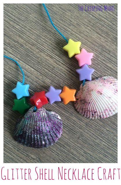 Glitter Shell Necklace Craft.  10 Ocean Themed Crafts & Activities for Kids || The Chirping Moms