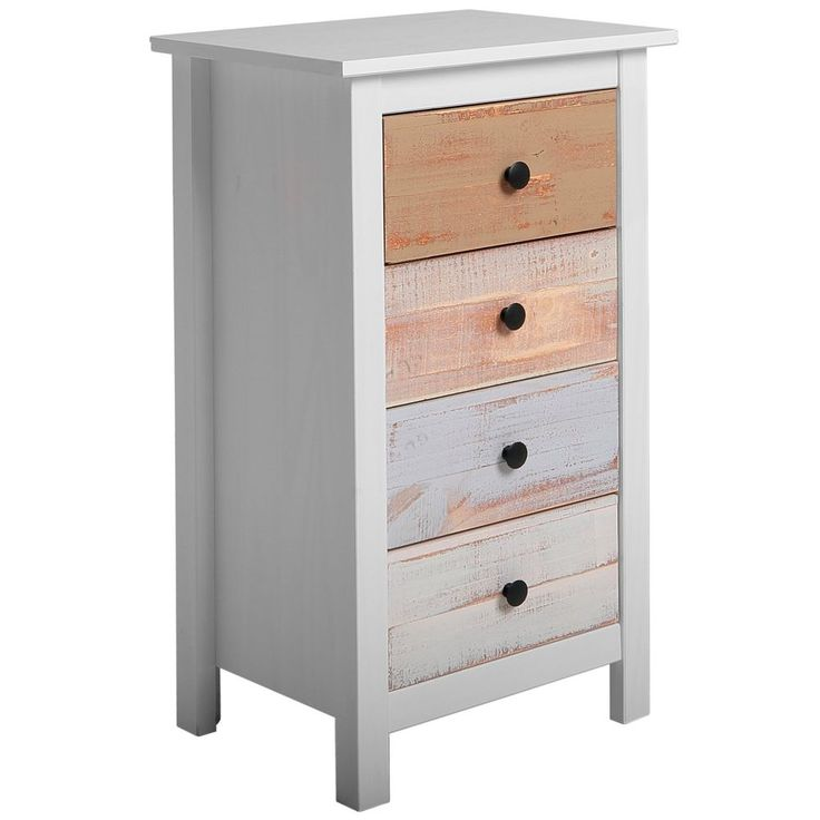 Chest of Drawers 4 Drawer White and Multicoloured Vintage