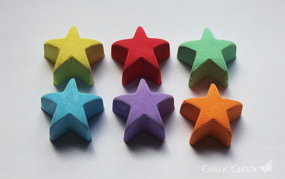 Chalk Stars  Set of 6 by ChalkChook on Etsy, $9.95