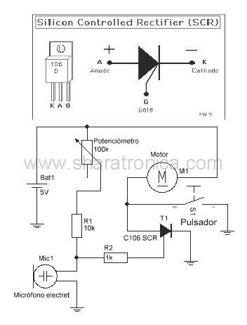 Circuito activado por sonido diagrama esquemático.