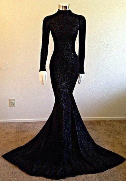 Modest Long-Sleeve Black High-Neck Mermaid Prom Dress